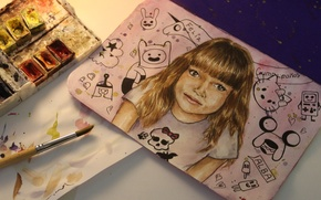 Picture paper, paint, drawings, girl, brush