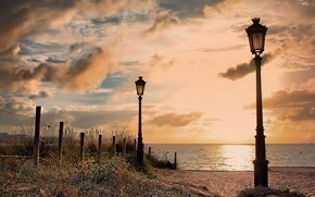 Picture flowers, Spain, shore, the bushes, beach, the city, sand, the fence, lights