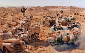 Picture war, figure, soldiers, the British, tanks, m3 stuart, tankers, M4 Sherman