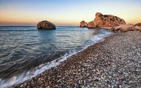 Picture sea, beach, landscape, sunset, pebbles, rocks