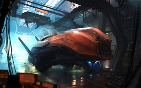 Picture future, fiction, transport, wire, station, crane, hangar, future, Doc, spaceship, spaceship, station, sci-fi, hangar, wire, …