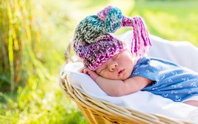 Picture basket, sleep, boy, cap, baby, sleep