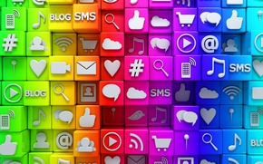 Wallpaper network, media, social, icons, cubes, social network, icons, colorful, cubes, Internet