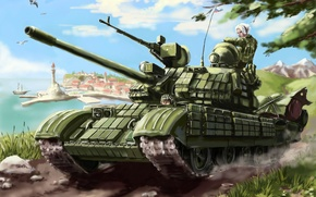 Picture the city, flag, soldiers, tank, machine gun, Russia, T-55
