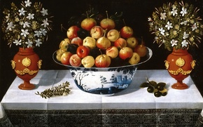 Picture picture, Thomas HEPES, Still life with Fruit and Flowers in Vases