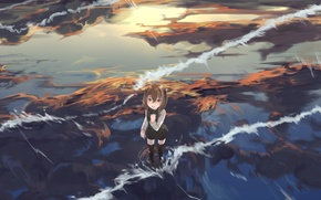 Picture the sky, water, girl, clouds, reflection, anime, art, kantai collection, taihou, mugcup