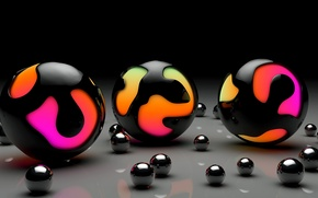 Wallpaper balls, color, surface, ball, art, glossy, sphere