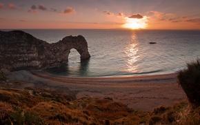 Picture sea, landscape, sunset, rocks, England, West Lulworth
