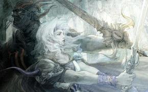 Picture final fantasy, Yoshitaka Amano, final fantsy iv, cecil
