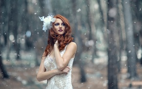 Picture girl, snow, Alessandro Di Cicco, Frosty Winter
