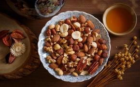 Picture tea, nuts, almonds, hazelnuts, the dried flowers, pecan, cashews