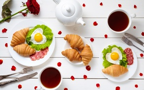 Picture coffee, Breakfast, hearts, love, rose, heart, cup, romantic, coffee, growing, breakfast, croissant