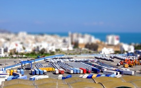 Picture roof, tilt shift, tilt shift, Tunis, cargo trailers, port Goullette