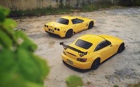 Picture Corvette, Chevrolet, Honda, Car, S2000, Yellow, Rear, Canibeat