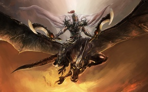 Picture flight, armor, Dragon, warrior, cloak, swords