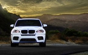 Picture white, mountains, BMW, BMW, before, white, wheels, tuning, front, crossover, X5M