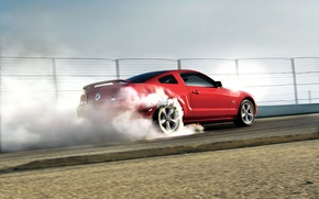 Picture car, machine, machine, red, Mustang, Ford, Mustang, Ford, red, drift, drift, red, auto, smoke