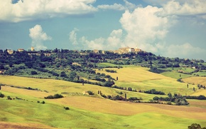Picture the sky, clouds, valley, village, Italy, Tuscany