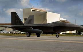 Picture fighter, the plane, the airfield, Raptor, f-22