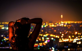 Picture girl, night, the city, lights, lights, East, night, Iran, Iran, middle East, Tehran, Tehran