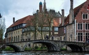 Picture bridge, building, channel, Belgium, bridge, Belgium, Bruges, Brugge, canal, Bruges