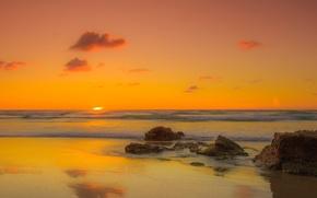Picture beach, summer, the sun, landscape, stones, the ocean, dawn, shore