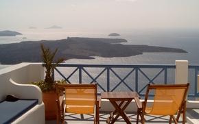 Picture terrace, Santorini, Thira, sea view