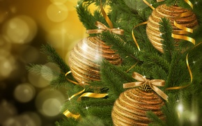Picture decoration, branches, balls, toys, tree, spruce, New Year, Christmas, the scenery, Christmas, gold, New Year, …