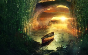 Picture forest, sunset, river, shore, boat