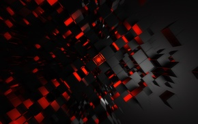 Picture red, art, digital art, endless, cubic, red art