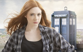 Picture look, Karen Gillan, the series, the TARDIS, police box, redhead, actress, Doctor Who, girl, Doctor ...