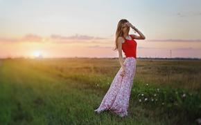 Picture field, girl, the sun, sunset, flowers, bracelets
