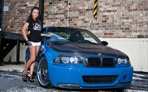 Picture girl, blue, wall, bmw, BMW, brunette, girl, drives, blue, carbon, brick, e46, brunet