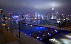 Wallpaper light, home, skyscrapers, pool, Windows, lights, night, city, road, blue, river