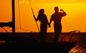 Picture sea, love, sunset, romance, yacht, pair