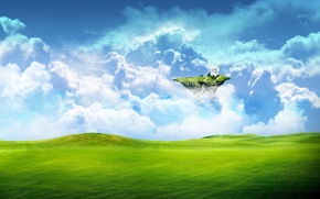 Picture greens, field, the sky, grass, clouds, fiction, earth