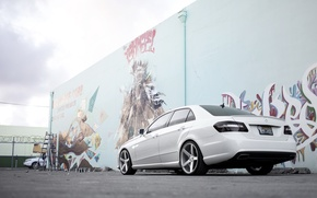 Picture white, graffiti, tuning, Mercedes, back, E Class