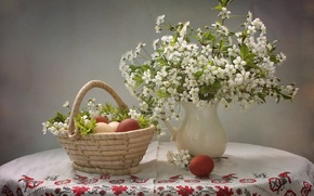 Picture cherry, eggs, Easter, basket, eggs