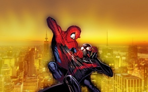 Picture city, new york, fight, spider man, ultimate spider man