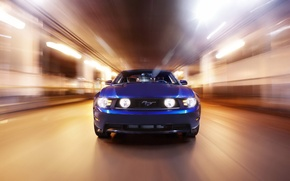 Picture speed, light, blue, mustang, ford