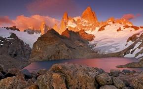 Picture snow, mountains, lake