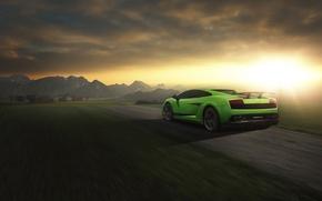 Picture Lamborghini, Superleggera, Gallardo, Green, Speed, LP 570-4, Sunset, Road, Rear