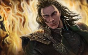 Picture fire, God, art, male, Loki