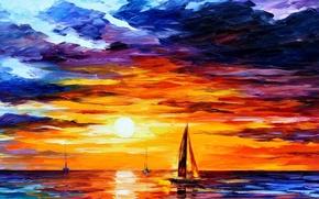 Wallpaper sea, ship, paint
