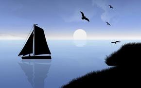 Picture sea, the sky, the sun, landscape, sunset, birds, boat, sail