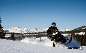 Picture forest, snow, black, sport, sport, snow, snowmobile, snowmobile, ski-doo, brp, skidoo, adrenaline, renegade