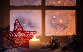 Wallpaper snow, window, winter, bumps, red, the evening, candle, star, sill