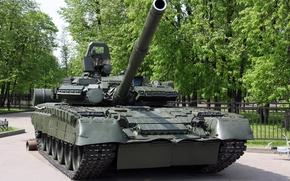 Wallpaper Tank, Park, t-80, caterpillar, the barrel