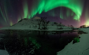 Picture water, stars, snow, trees, night, green, Northern lights, Aurora Borealis