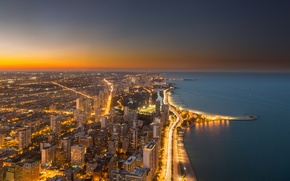 Picture sunset, the city, lights, Chicago, USA, Illinois, panorama